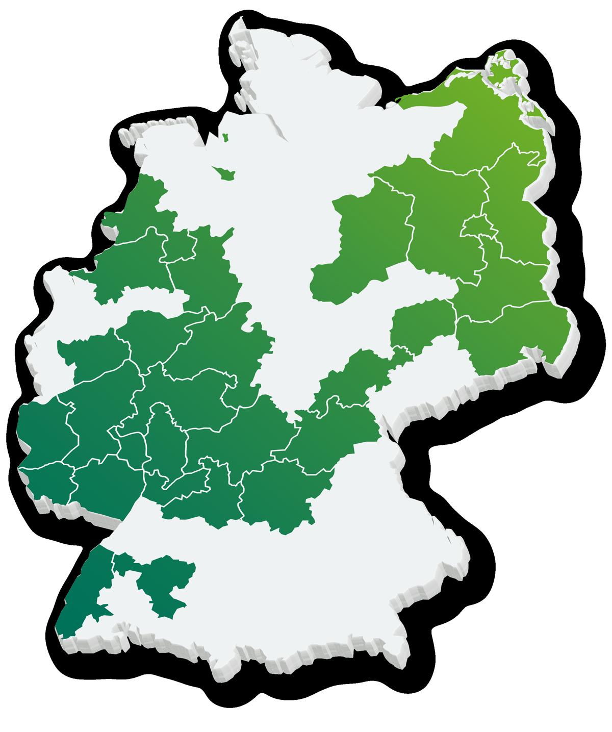 Deutschlandkarte mit eingezeichneten Handwerkskammern die das itb-Konzept nutzen